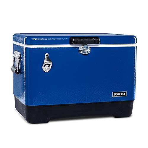 Igloo Ultratherm 54 Quart Modern Steel Legacy Cooler with Soft Grip Handle and Attached Stainless Steel Bottle Opener, Blue