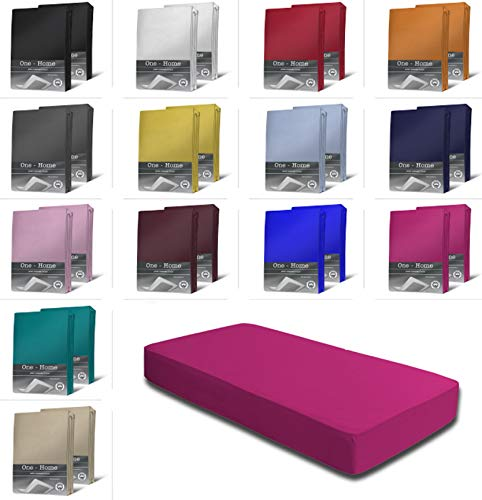 one-home 2er Set Jersey Spannbettlaken Spannbetttuch weiche Baumwolle mit Rundumgummizug, Farbe: Pink, Maße: 2er Pack 90-100 x 200 cm
