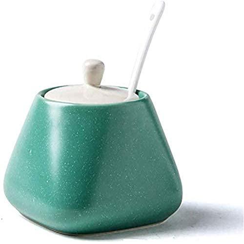 Zuoao Pot di condimento condimento Box Cucina Ceramica per Usi Domestici condimento Contenitore condimento Bottiglia di Sale Zucchero Shaker Ciotola Pepe Shaker,Green