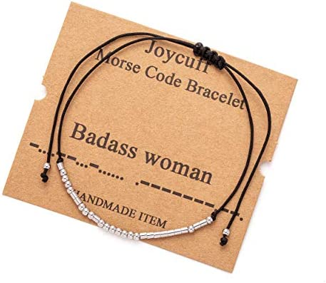 Morse Code Bracelets for Wife Girlfriend Mom Daughter Sister Badass Woman Funny Fashion Best product image