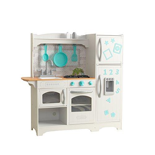 KidKraft- Cuisine Enfant en Bois Countryside Jeu d'Imitation Incluant Accessoires, Distributeur de Glaçons et EZ Kraft Assembly, 53424, Blanc