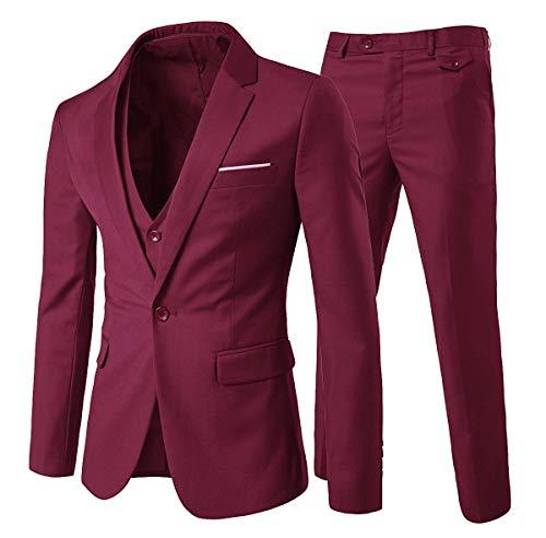Cloud Style Costume Formel, Un Bouton à la Mode Slim fit pour Homme, Vin Rouge, M