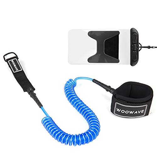 WOOWAVE SUP Leash Premium Stand Up Paddle Board Surfboard Leash Coiled 8/10 feet Stay on Board with Waterproof Wallet/Phone Case (Blue White Core, 10ft & 7mm)