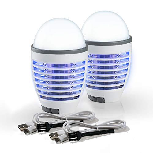 Genius Moskitokiller (6 Teile) UV Insektenfalle Insektenlampe Insektenvernichter als elektrisch-e Fliegenfalle mit LED-Licht und Akku - Insektenschutz beim Camping Outdoor