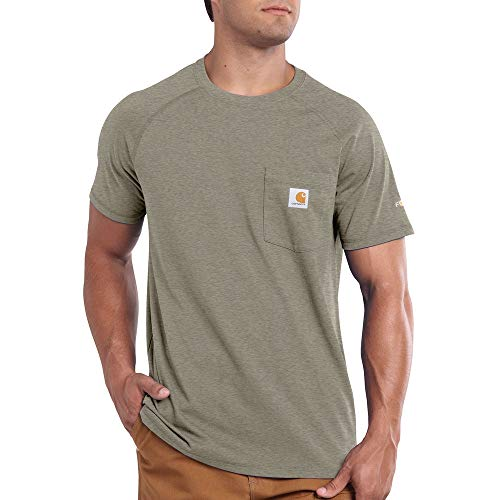 Carhartt Men's Force Cotton Delmont Short Sleeve T-Shirt, Greige Heather, Large