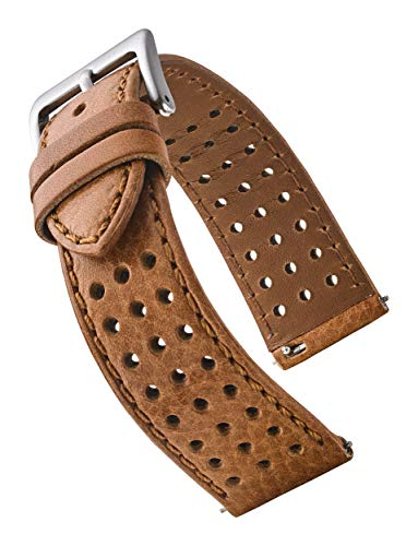 Soft and Smooth Genuine Perforated Leather Watch Band - Tan - 20mm