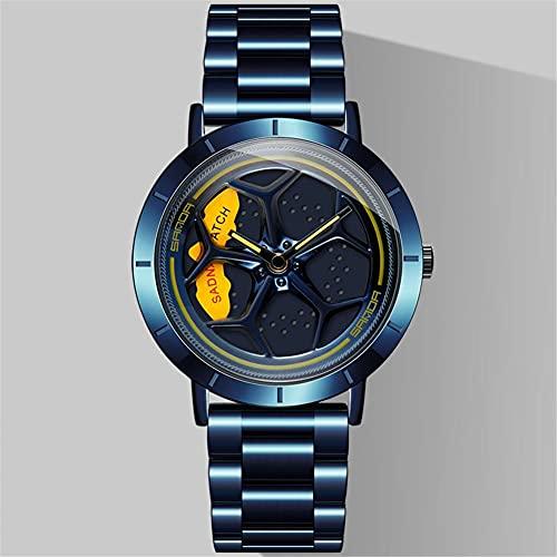 STST Relojes para Hombre Rueda Movimiento de Cuarzo Reloj Giratorio con Correa de Acero Inoxidable Resistente al Agua,Azul