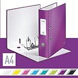 Leitz 10050062 Qualitäts-Ordner (A4, 8 cm Rückenbreite, Graupappe mit laminierter Oberfläche, WOW) violett glänzend