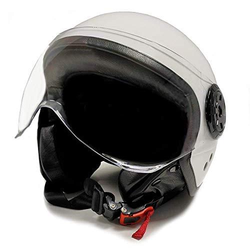 E-NUC Gran Scooter Accesories CASCO MOTO JET (Con gafas Protectoras, homologado, forro agradable y extraíble) Talla M - BLANCO