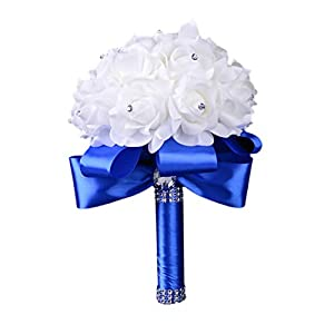 Colorful Foam Roses Artificial Flower Wedding Bride Bouquet Party (Blue+White)