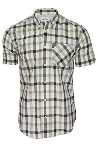 Ben Sherman Mens Check Shirt Short Sleeved Dark Navy XL