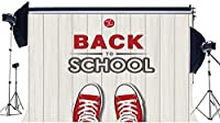 HD学校に戻る背景10X7FTビニールウェルカムバックパーティーの背景赤いスポーツシューズストライプ白い木の床写真学校に行く途中の学生のための背景写真スタジオの小道具KX986