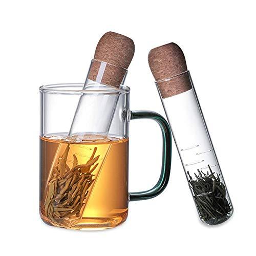 Wateralone 2 Stück Teefilter Teeei Teesieb Tea Infuser Aus Hitzebeständiges Glas, Mit Kork, Transparentes Teeei Für Losen Tee, Teefilter 15.5×3cm