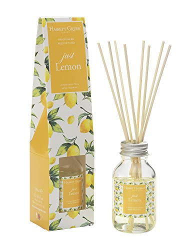 Just Lemon Fragrance Reed Diffuser 100ml - Long Lasting Home Indoor Fragrance - with 8 Rattan Reeds
