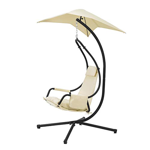 SoBuy OGS53-MI, Indoor Outdoor Garden Patio Swing Chair Hanging Chair Hammock with Cushion and Sunshade