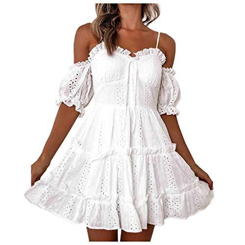 NPRADLA Damen Blumen Sommerkleid High Waist Volant Kleid Vintage Minikleid Strandkleid