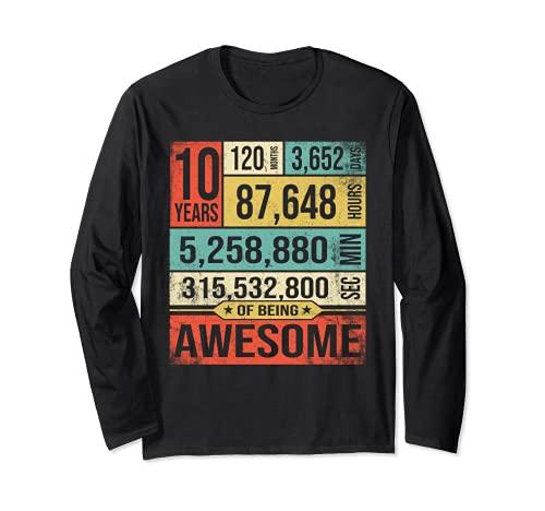 Conto alla rovescia di compleanno 10 anni essere impressionante 2009 t-shirt Maglia a Manica