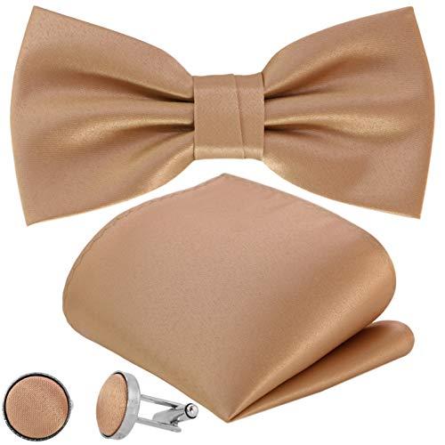 GASSANI 3-Set Fliegenset, Herren-Fliege Cremefarben Einstecktuch Manschettenknöpfe, Bräutigam Hochzeitsfliege Anzug-Schleife Vorgebunden Taschentuch