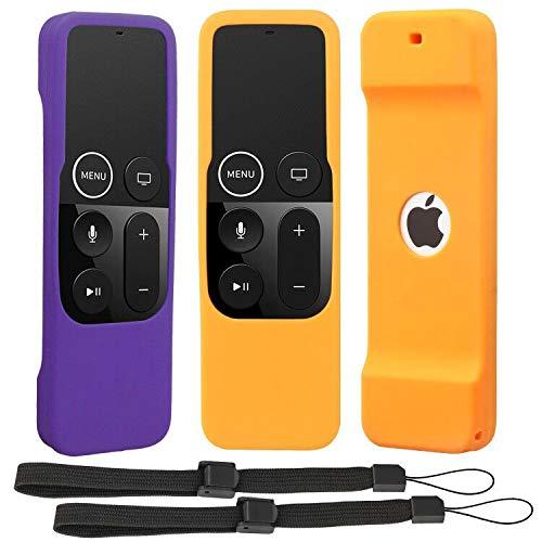 [2 pezzi] Custodia per telecomando compatibile per Apple TV 4a 5a generazione, leggera [antiscivolo] Custodia antiurto in silicone per telecomando TV 4° 5° 5° Siri con cordino (arancione+viola)