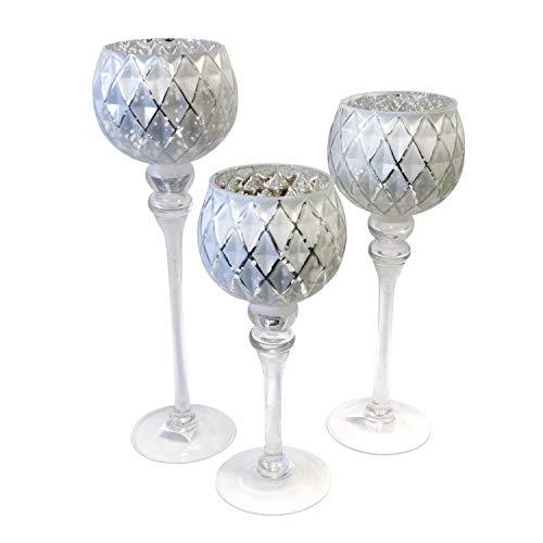 3tlg. Glaskelch Windlicht Set H40/35/30cm mit weißem Kelch in Wabenoptik auf Fuß Kerzenhalter Kerzenständer Kerzenleuchter