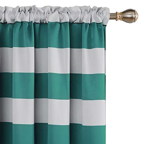 Deconovo Striped Room Darkening Curtains Wave Striped Curtains Set Light Blocking Curtains for Bedroom and Kids Room 52W X 72L Aqual Blue/Teal Set of 2
