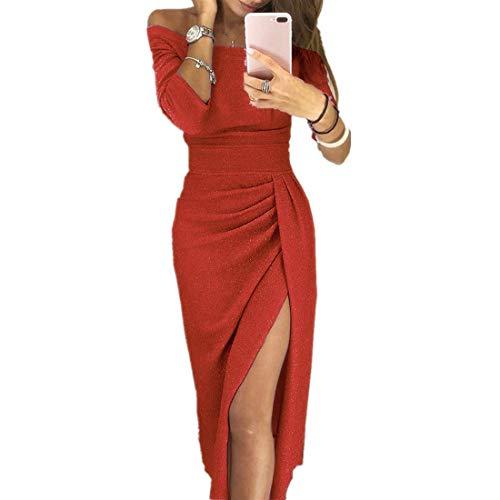 riou Vestido de Fiesta para Mujer Ajustado de Corte Alto con Hombros Descubiertos Vestido De Fiesta Brillante De Costura Sexy Manga Larga Cóctel Rockabilly Clásico