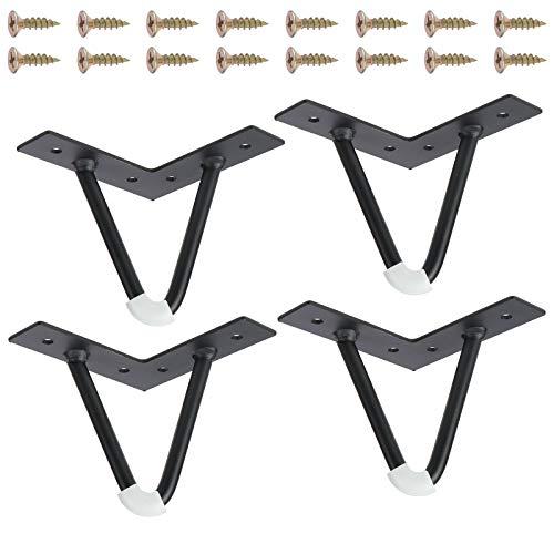 Patas de mesa de 10 cm, color negro, 4 patas de metal de doble soldadura, patas de mesa con protectores de suelo para sofás, mesas de café, mesitas de noche