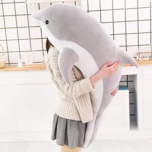 LYXBWT Juguete de Peluche Lindo muñeco de delfín Juguete de Peluche Almohada para Dormir Regalo para niños 160 cm Gris