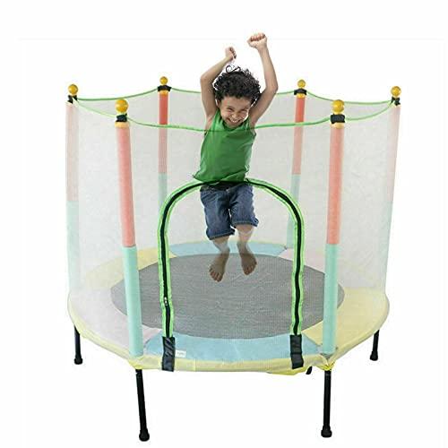 Tappeto elastico per bambini, per esterni, con rete di sicurezza, portata fino a 200 kg, per tre bambini