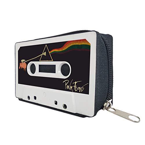 Monedero Cartera Mujer Hombre Billetera con Cremallera Retro Vintage - Artesanal Hecho a Mano con Cintas de Cassettes Tarjetero Diseño Reciclado Tamaño Pequeño Regalo Original Pink Floyd Portamonedas
