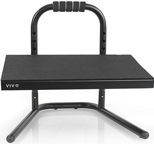 VIVO Black Ergonomic Height Adjustable Standing Foot Rest Relief Platform for Standing Desks (STAND-FT01)