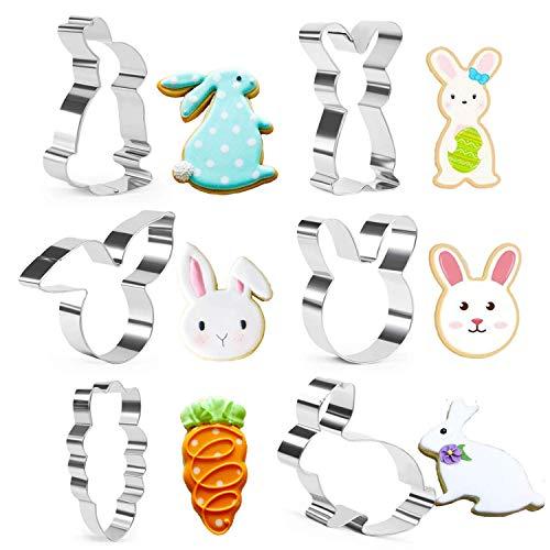 Set di formine per biscotti pasquali, conigli, carote, conigli, forme di coniglio, 6 pezzi in acciaio inox