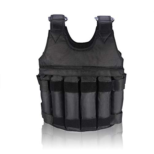 Yosoo Verstellbare Leer-Weste aus Oxford Schulter mit Schulterpolster 12-Fächer 50kg Gewichte Gewichtsweste Komfort Weight Vest Trainingsweste Training Workout Fitness Sport Weste