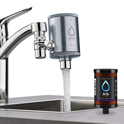 Alb Filter® Duo Active Plus+ Trinkwasserfilter | Armatur Anschluss | Filtert Bakterien, Schadstoffe, Chlor, Pestizide, Mikroplastik. | Set mit Gehäuse und Kartusche | Made in Germany Titan