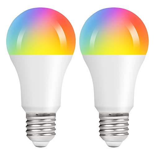 Vicloon E27 Wi-Fi Lampen, 2 Stück 10W A60 LED Smart Lampe, RGB 2700-6500K Mehrfarbige Dimmbare Lampe, 2.4GHz, Kompatibel mit Alexa Echo Google Home, E27 WiFi Birne mit APP-und Sprachsteuerung
