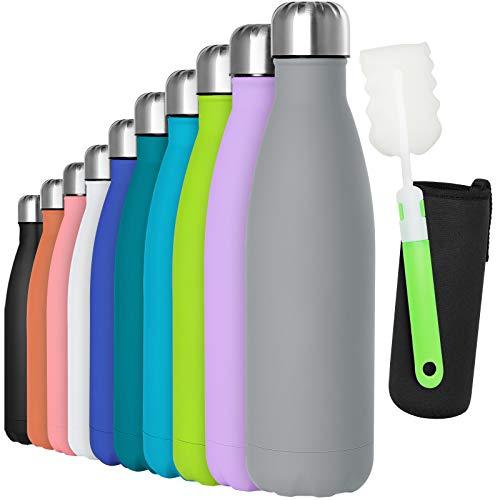 GeeRic Trinkflasche Edelstahl Thermosflaschen Doppelwandige thermoskanne 500ml Auslaufsicher BPA-frei rostfrei Isolierflasche und Hält kalte Mit Tassenbürste, Tassenschutz grau