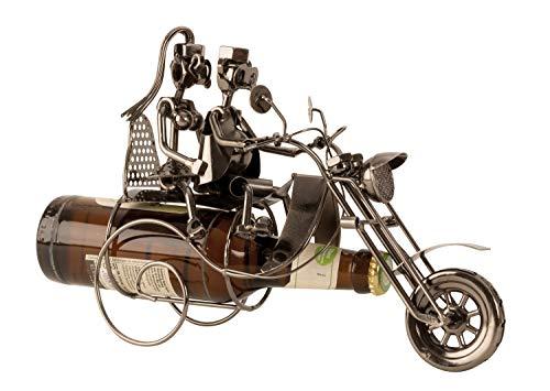 Flaschenhalter Flaschenständer Motorrad mit Paar aus Metall für Bierflasche 0,33 Höhe 21 cm Breite 26 cm
