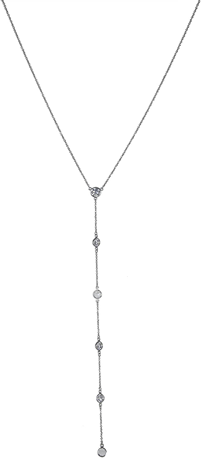 CZ by Kenneth Jay Lane Women's 3.3Cttw Long Chain Necklace W/Round Cz Drop Y Shaped Necklace, Cubic Zirconia, One Size