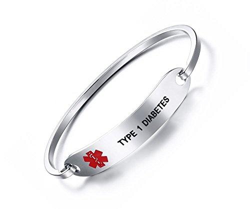 VNOX TYPE 1 DIABETES Bracelet Stainless Steel Medical Alert ID Bangle Bracelet 7.5