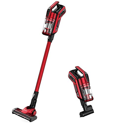 Proscenic I9 Cordless Vacuum Cleaner, 22000Pa Powerful Suction with Detachable Battery, LED Headlight, Charging Base, Long Lasting, Mini Motorized Tool, Red