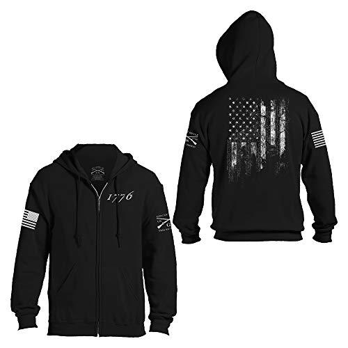 Grunt Style 1776 Flag - Full-Zip Hoodie (Black, Large)