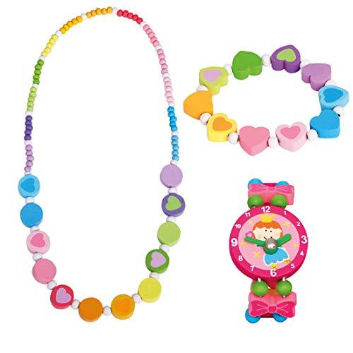 Bino 3 TLG. Set Holzschmuck Mädchenschmuck Kinderschmuck Motiv Regenbogen - Halskette Armband Regenbogen Herz und Armbanduhr