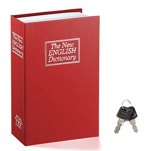 Book Safe with Key Lock – Jssmst Home Dictionary Diversion Safe Lock Box Safe Metal Box, Red Large, SM-BS004BL