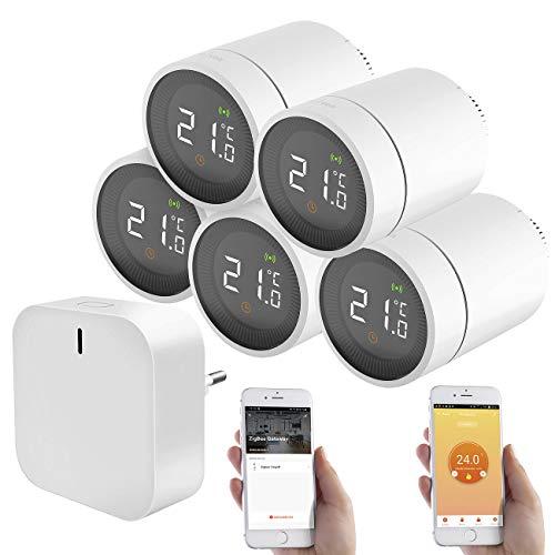 revolt ZigBee Thermostat: 5er-Set Heizkörperthermostate mit App, Sprachsteuerung, ZigBee-Gateway (Smart Thermostat ZigBee)