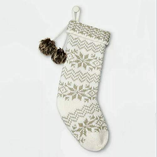 Winterland 20' Inches Snowflake Fair Isle Christmas Stocking - Classic Style with Hanging Faux-Fur Pompoms - Shiny Frosty Collection (Ivory/Silver)
