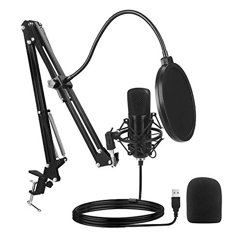 SKYTOU USB Microphone Computer PC Microphone Kit 192KHZ/24BIT Plug & Play with Adjustable Scissor Arm Stand Shock Mount for Instruments Voice Overs Recording Podcasting Gaming