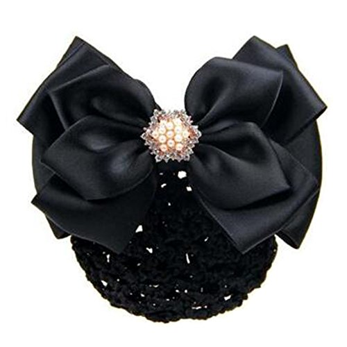 2 pcs bowtie maille cheveux barrette snood élastique coiffure coiffure pour les dames, Noir
