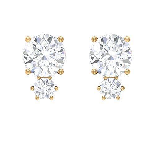 Pendientes de tuerca de diamante de 1/3 CT con 2 piedras (calidad AAA), parte trasera de rosca amarillo