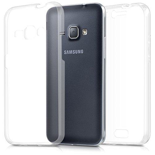 kwmobile Funda Compatible con Samsung Galaxy J1 (2016) - Carcasa Completa 360 para móvil - Cover Doble - Transparente