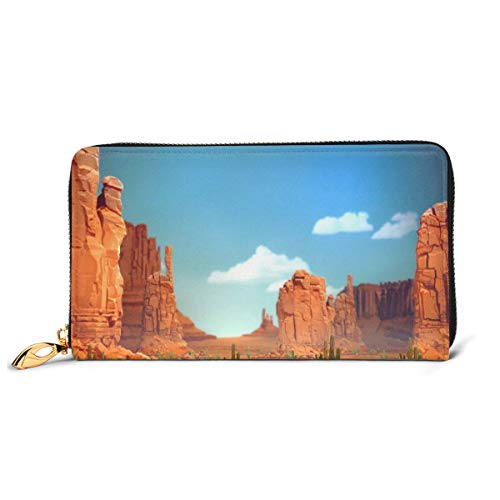 Women Genuine Leather Wallets Canyon Blue Sky Credit Card Holder Organizer Ladies Purse Zipper Around Clutch